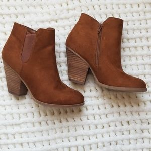 "Brown ""suede"" cognac brown sz 9 ankle boots tan"